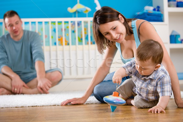 Happy family playing at home Stock photo © nyul