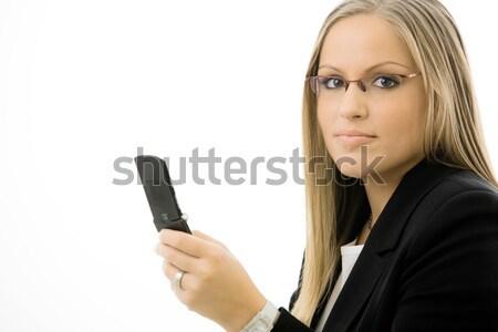 Femme d'affaires téléphone portable jeunes heureux souriant Photo stock © nyul