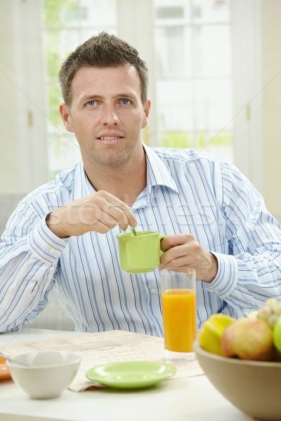 Сток-фото: человека · завтрак · здорового · питьевой · кофе · апельсиновый · сок