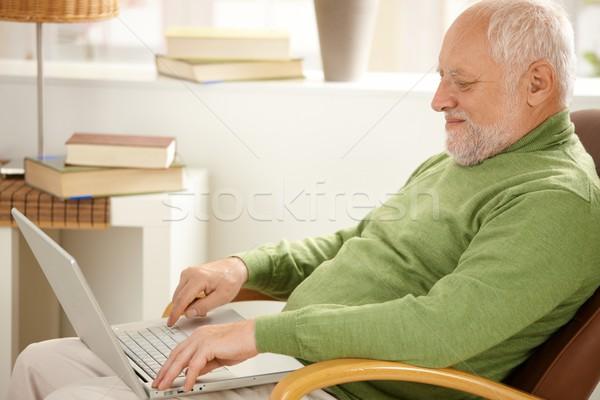 улыбаясь пенсионер используя ноутбук компьютер сидят кресло Сток-фото © nyul