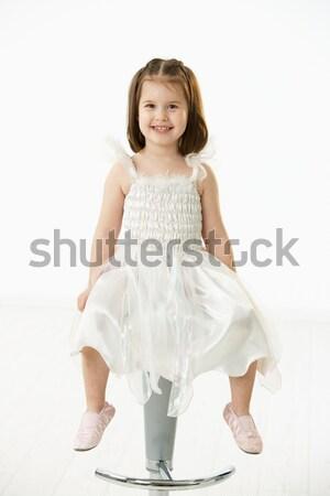 Feliz little girl sessão cadeira retrato bonitinho Foto stock © nyul