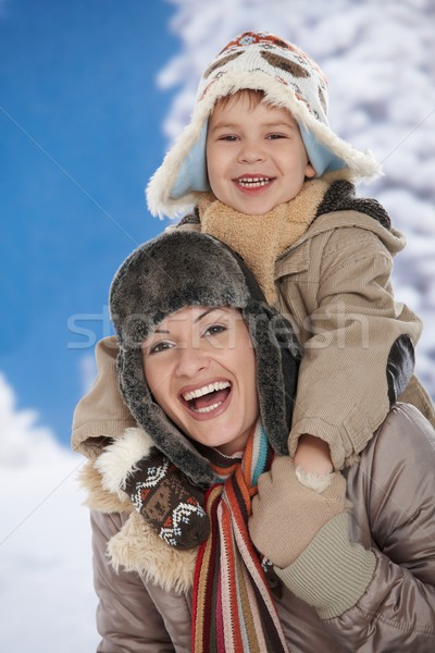 Moeder kind winter portret gelukkig samen Stockfoto © nyul