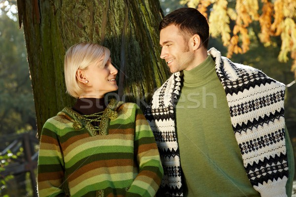 Sunny autumn couple portrait Stock photo © nyul