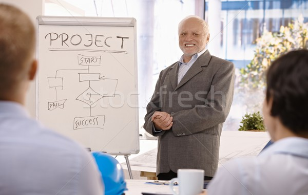Experienced businessman training group in office Stock photo © nyul