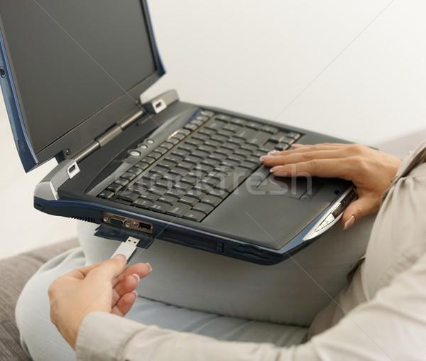 Flash drive laptop kopia przestrzeń komputera strony Zdjęcia stock © nyul