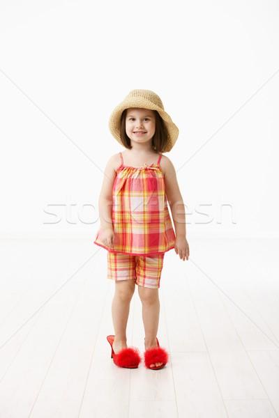 Stockfoto: Weinig · dochter · moeders · schoenen · groot · naar