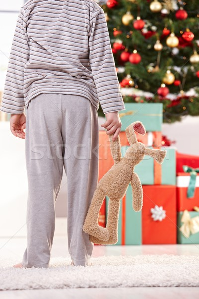 Little boy and toy bunny at christmas Stock photo © nyul
