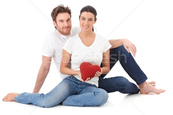Iubitor cuplu ziua indragostitilor şedinţei podea Imagine de stoc © nyul