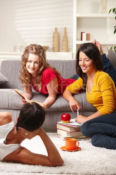 Estudantes aprendizagem grupo feliz casa sorridente Foto stock © nyul