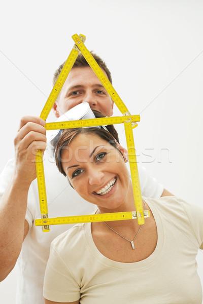 Stockfoto: Portret · gelukkig · paar · glimlachend