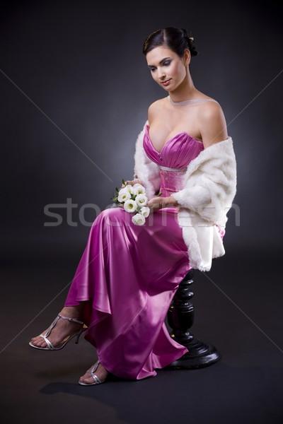 女性 イブニングドレス 美しい 若い女性 座って 椅子 ストックフォト © nyul