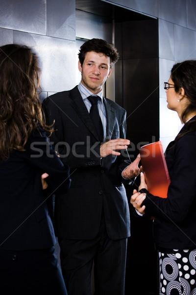 Stock fotó: üzletemberek · beszél · boldog · fiatal · üzletember · üzletemberek