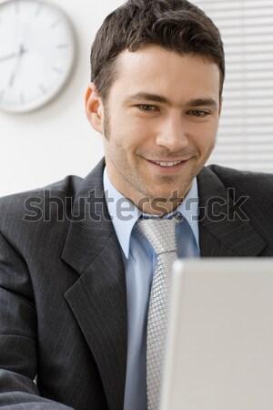 Portret zakenman gelukkig glimlachend witte kantoor Stockfoto © nyul