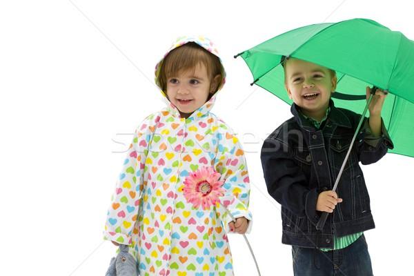 Heureux enfants rire garçon vert Photo stock © nyul