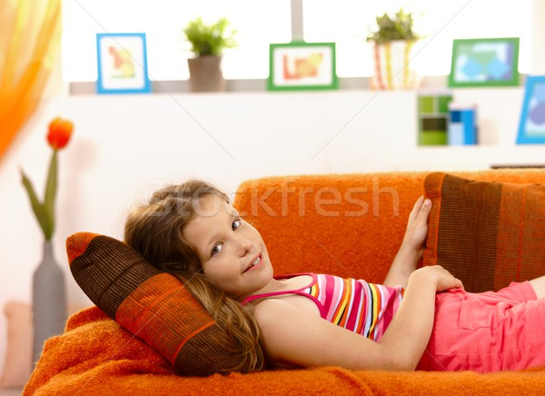 Portrait of young girl at home Stock photo © nyul