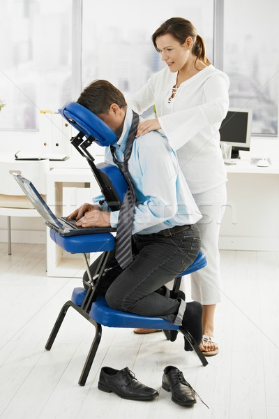 Masseur nek massage kantoor zakenman business Stockfoto © nyul