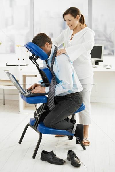 массажист шее массаж служба бизнесмен бизнеса Сток-фото © nyul