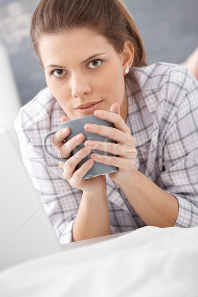 Morning portrait of woman drinking coffee Stock photo © nyul