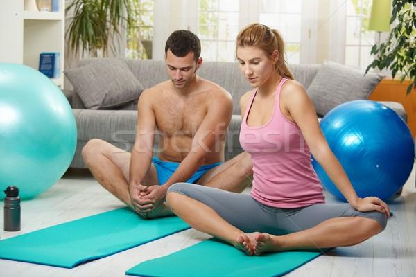 Couple streching before exercises Stock photo © nyul