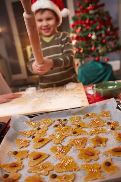 Erkek oynama pin haddeleme Noel küçük Stok fotoğraf © nyul