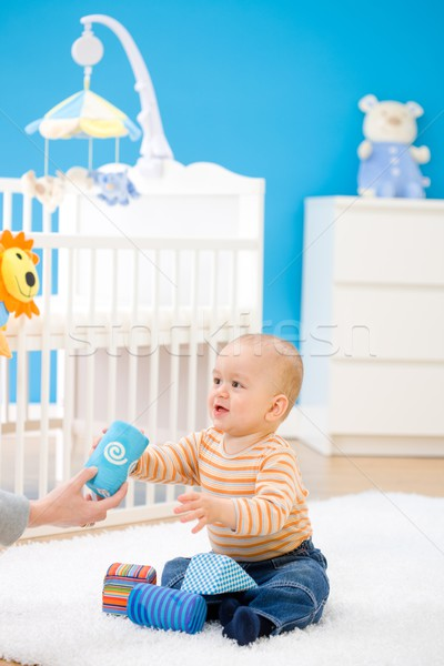 Stock photo: baby playing at home