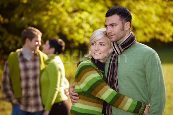 Young couples outdoor at autumn Stock photo © nyul
