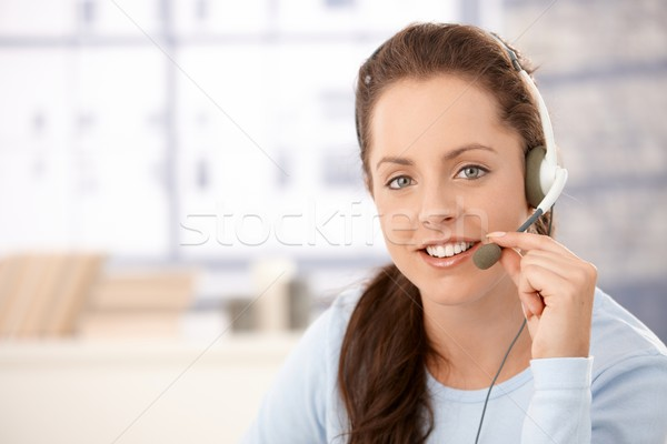Portrait of attractive dispatcher with headphones Stock photo © nyul