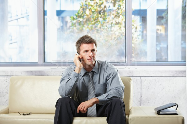 Professional listening to phonecall on sofa Stock photo © nyul