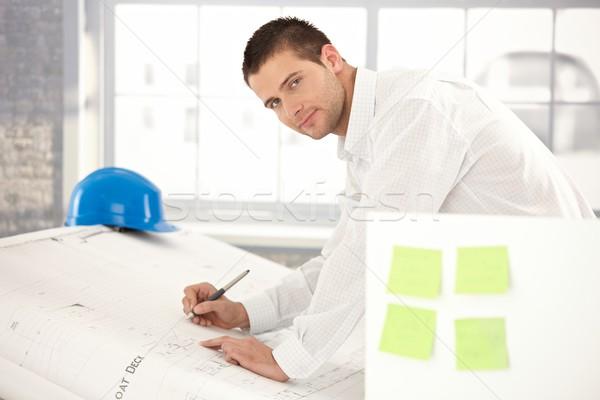 Photo stock: élégant · ingénieur · dessin · jeunes · plans · lumineuses