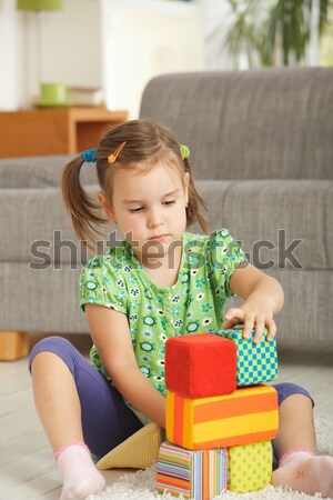 Little girl playing with toy blocks Stock photo © nyul
