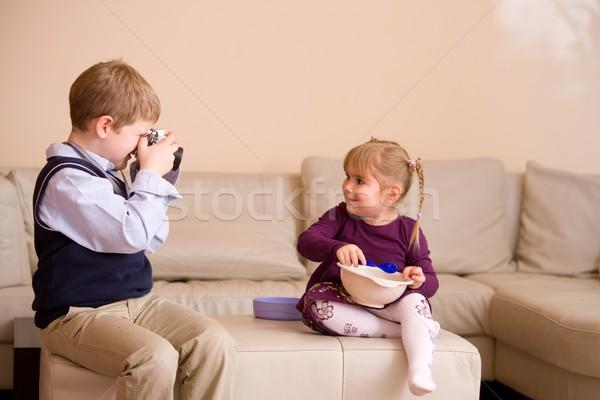少年 画像 姉妹 座って ストックフォト © nyul