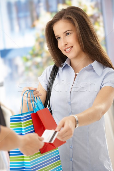 Smiling woman after shopping Stock photo © nyul