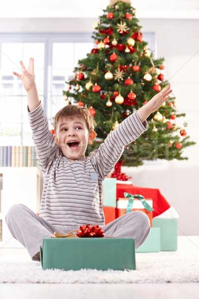 Kid yelling happily at christmas gift Stock photo © nyul