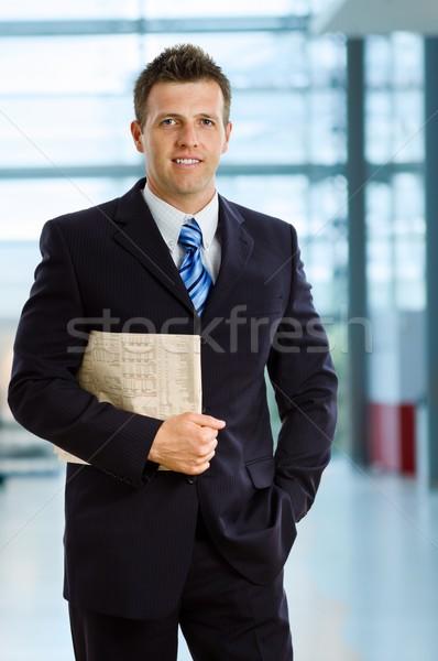 Glimlachend zakenman gelukkig kantoor lobby business Stockfoto © nyul