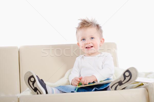 Baby boy reading book Stock photo © nyul