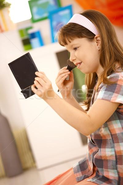 Iskolás lány játszik smink otthon tart zseb Stock fotó © nyul