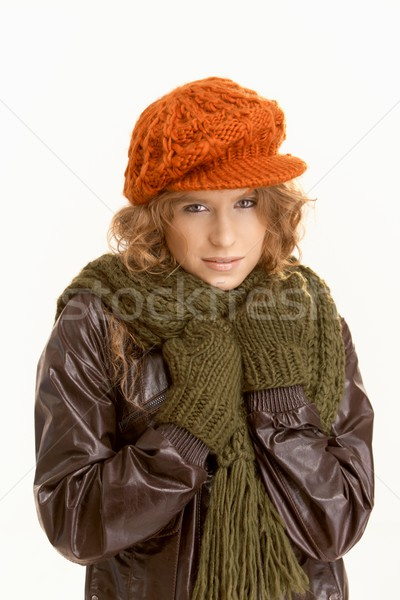Pretty young female dressed up warm Stock photo © nyul