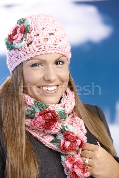 Pretty girl dressed up warm enjoying wintertime Stock photo © nyul