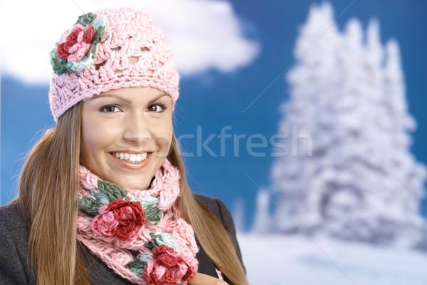 Stockfoto: Mooie · meisje · omhoog · warm · genieten · jong · meisje