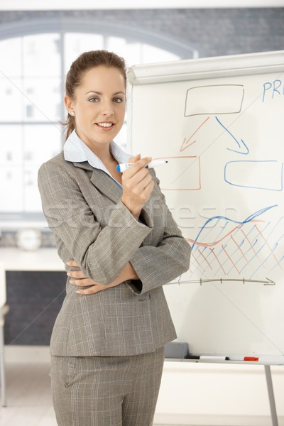 Young businesswoman presenting in office smiling Stock photo © nyul