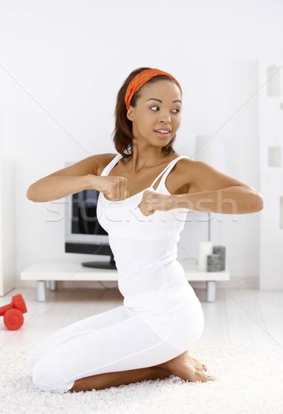 Foto stock: Mulher · retrato · feliz · exercer · casa