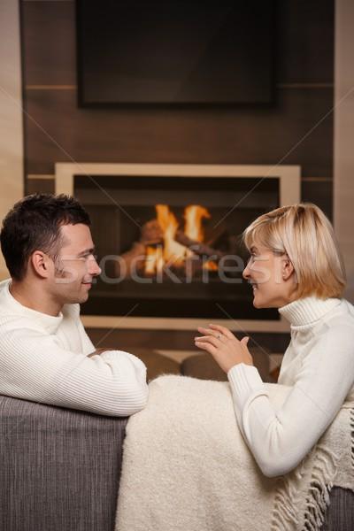 романтические пару домой молодые сидят диване Сток-фото © nyul