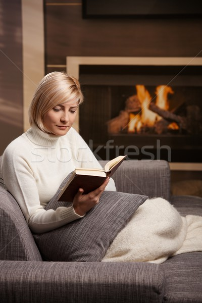 Stock fotó: Nő · olvas · otthon · ül · kanapé · könyv