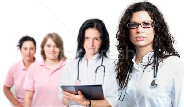 Orvosi csapat négy személy fiatal női orvos Stock fotó © nyul