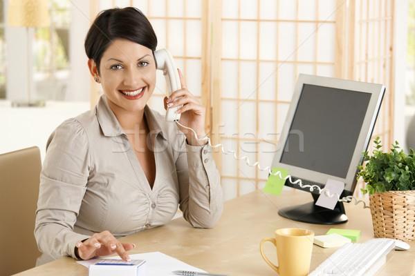 Stok fotoğraf: Işkadını · çalışma · büro · mutlu · ofis · konuşma