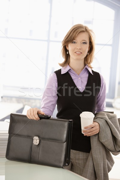 Young businesswoman arrived to office Stock photo © nyul