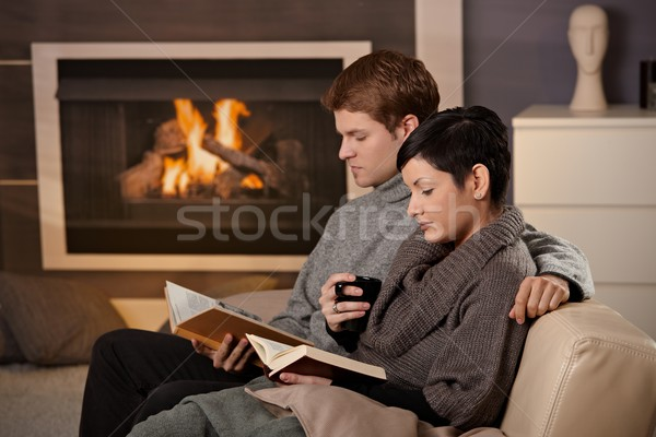 Stock photo: Couple reading at home