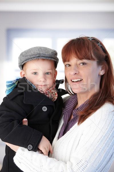Anya fiú mosolyog tart karok boldogan Stock fotó © nyul