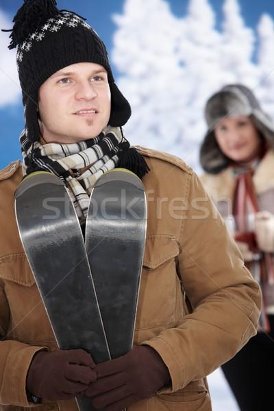 Stockfoto: Gelukkig · paar · winter · sneeuw