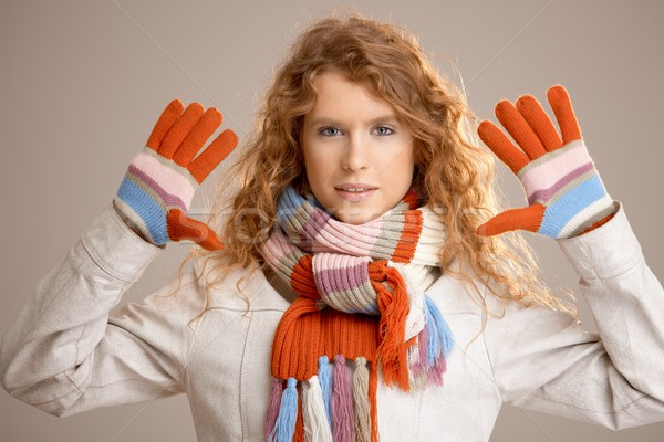 Attractive female dressed up for winter fun Stock photo © nyul